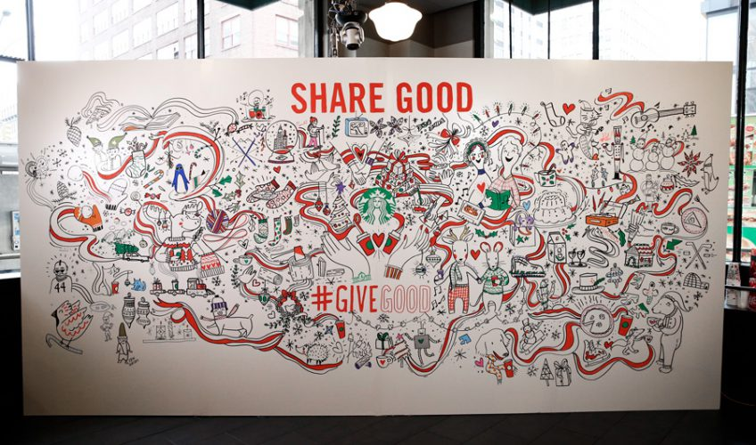 """""""To kick off the season and our campaign, we made an animated spot that revealed the new holiday cup design. We followed that up with a Facebook live event, where we asked viewers to tell us what makes the holidays special to them, and used their stories to create a 20-ft. mural in real-time."""""""