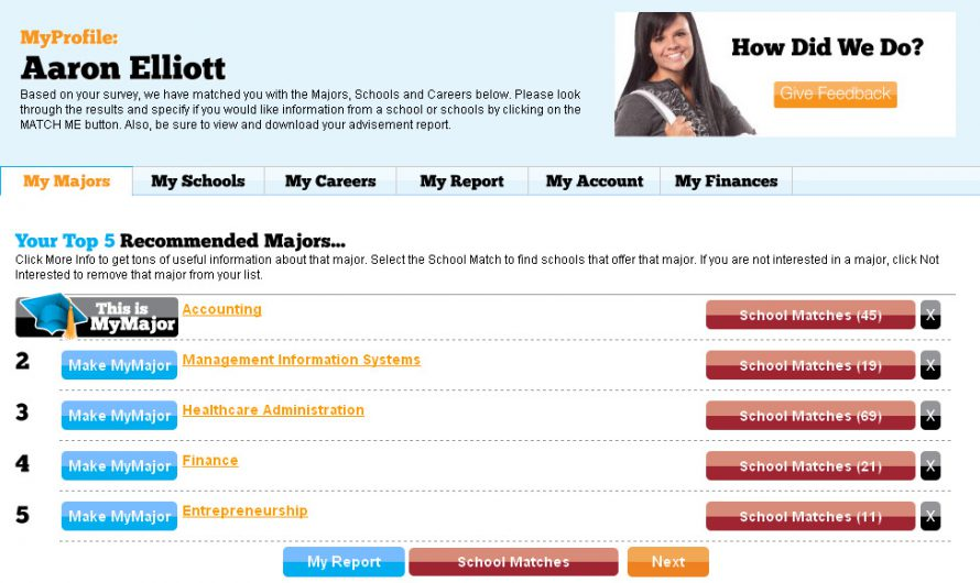 MyMajors Student Profile Pages