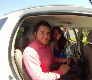 Nikki in the car