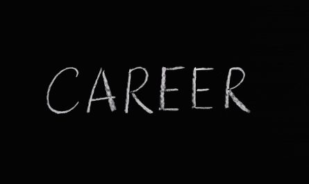 career lettering text on black background