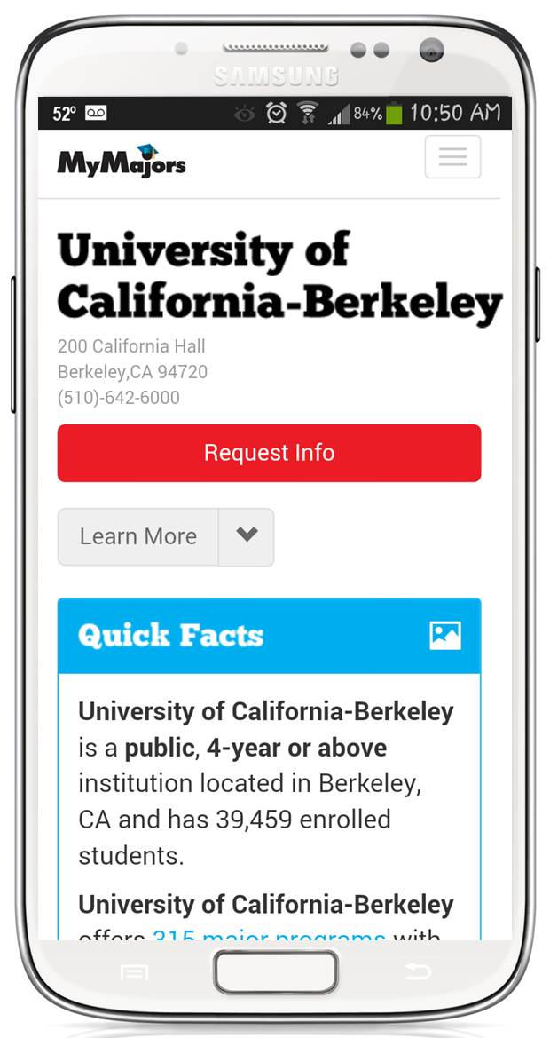 UC Berkeley mobile New MyMajors for 2014